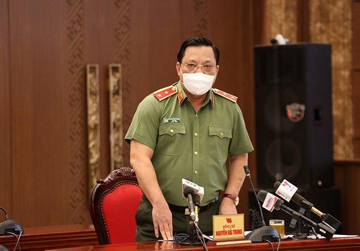 Giám đốc Công an TP Hà Nội Nguyễn Hải Trung thông tin tại buổi họp báo