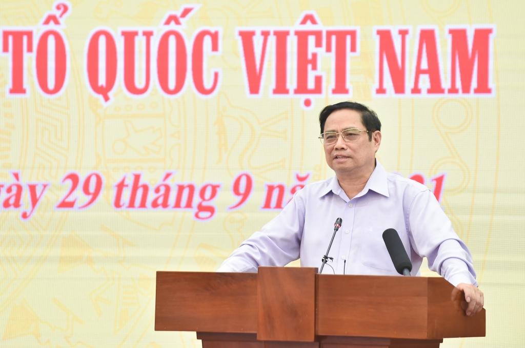Thủ tướng Phạm Minh Chính khẳng định, Chính phủ, các thành viên Chính phủ luôn coi trọng, lắng nghe ý kiến của MTTQ Việt Nam - Ảnh: VGP/Nhật Bắc