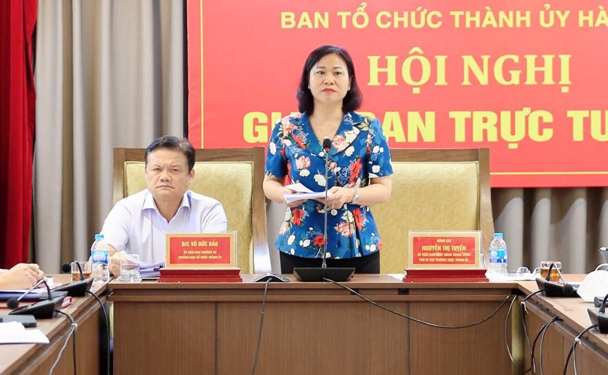 Phó Bí thư Thường trực Thành ủy Hà Nội Nguyễn Thị Tuyến phát biểu tại hội nghị