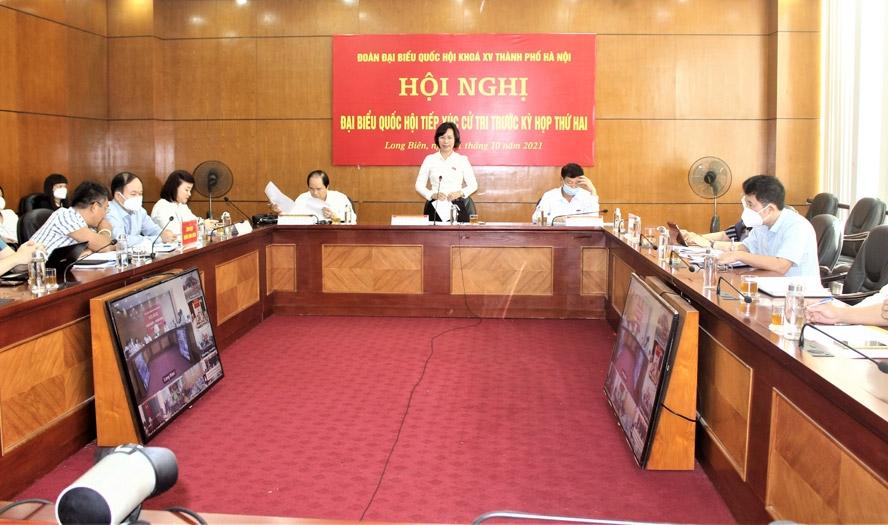 Trưởng ban Tuyên giáo Thành ủy Hà Nội Bùi Huyền Mai phát biểu tiếp thu ý kiến