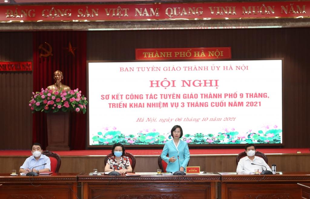 Trưởng ban Tuyên giáo Thành ủy Bùi Huyền Mai phát biểu chỉ đạo tại hội nghị