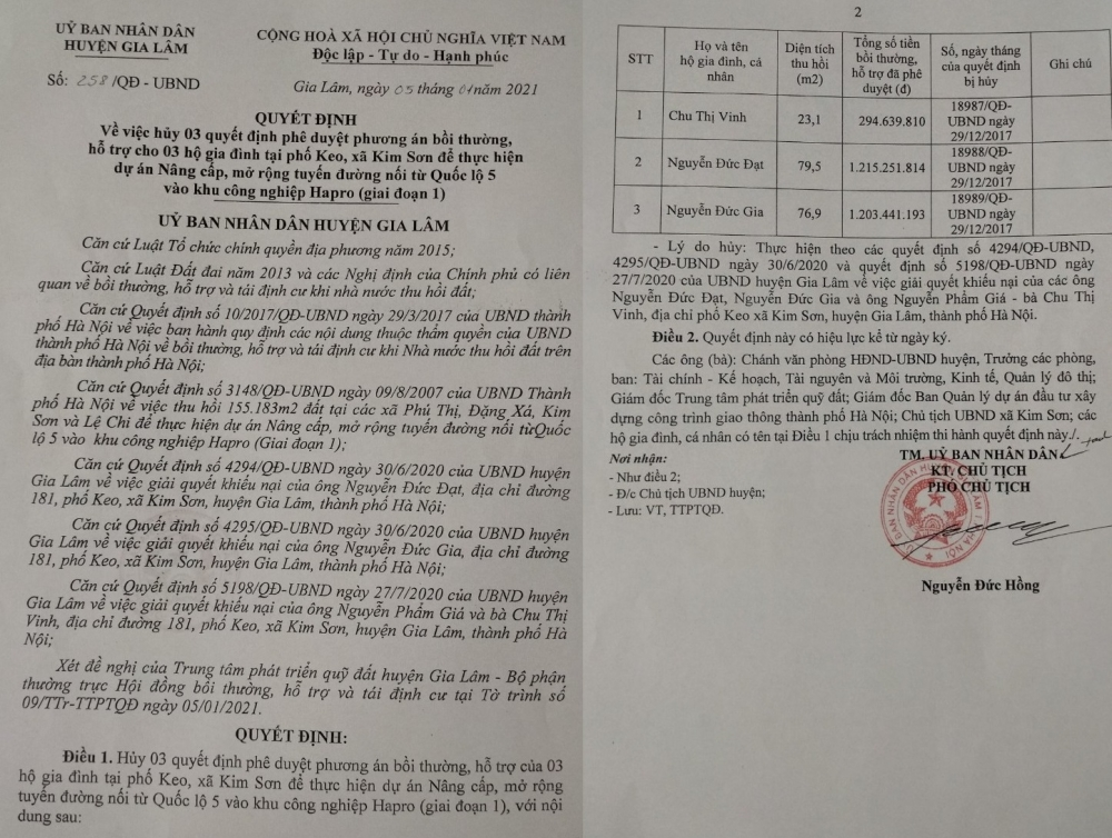Huyện Gia Lâm: Hủy các quyết định bồi thường GPMB của gia đình bà Chu Thị Vinh