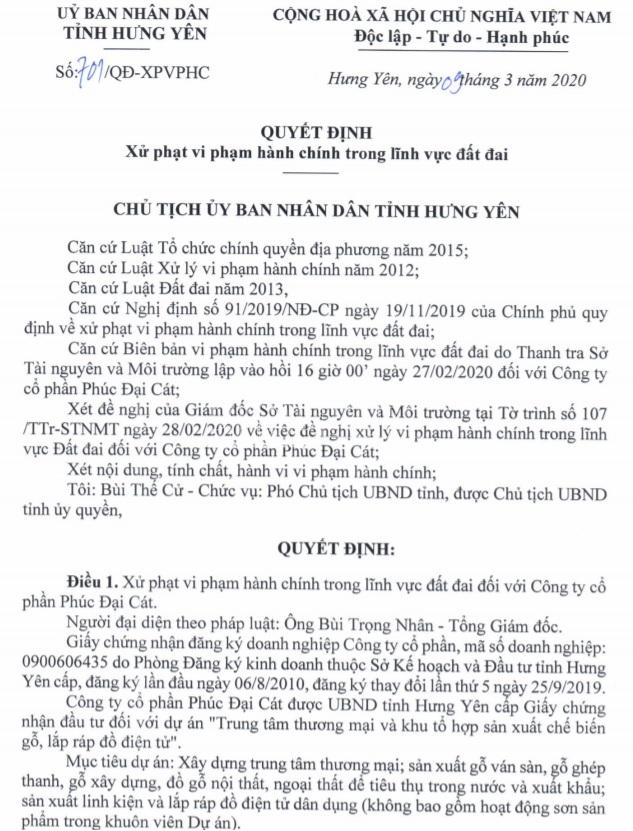 hung yen cong ty phuc dai cat tu y san lap 27 ha dat trong lua trai phep