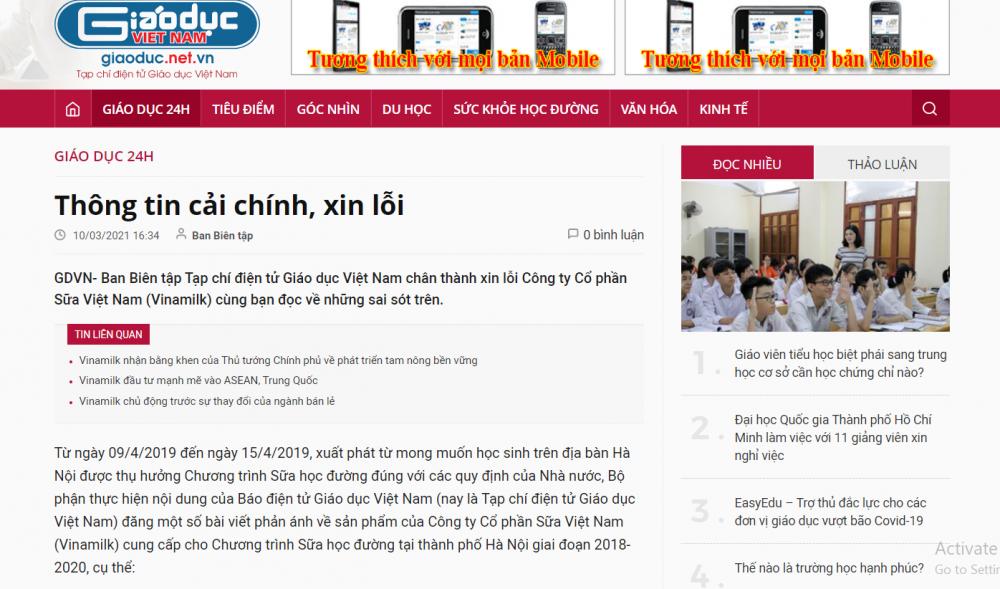 Tạp chí điện tử Giáo dục Việt Nam xin lỗi, cải chính thông tin sai sự thật về Vinamilk