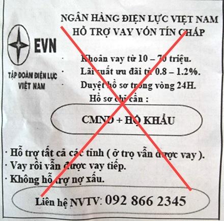 Cảnh báo giả danh EVN để quảng cáo cho vay tín chấp