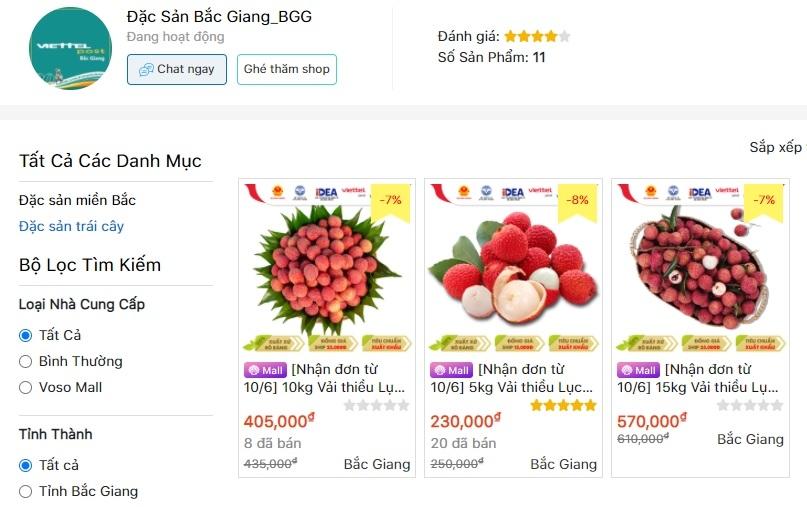 Vải thiều Bắc Giang bắt đầu bán trên 6 sàn thương mại điện tử