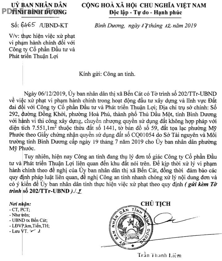 binh duong cong an dieu tra vu cong ty thuan loi chuyen nhuong trai phep hon 7500 m2 dat