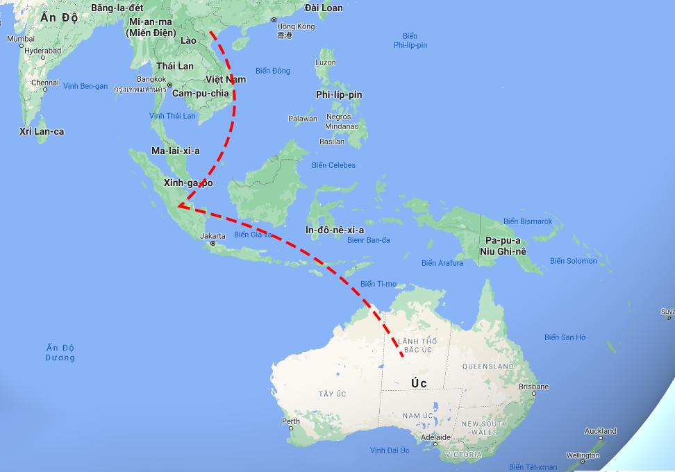 Hai bệnh nhân quá cảnh tại Singapore trước khi đến điểm cuối là Australia