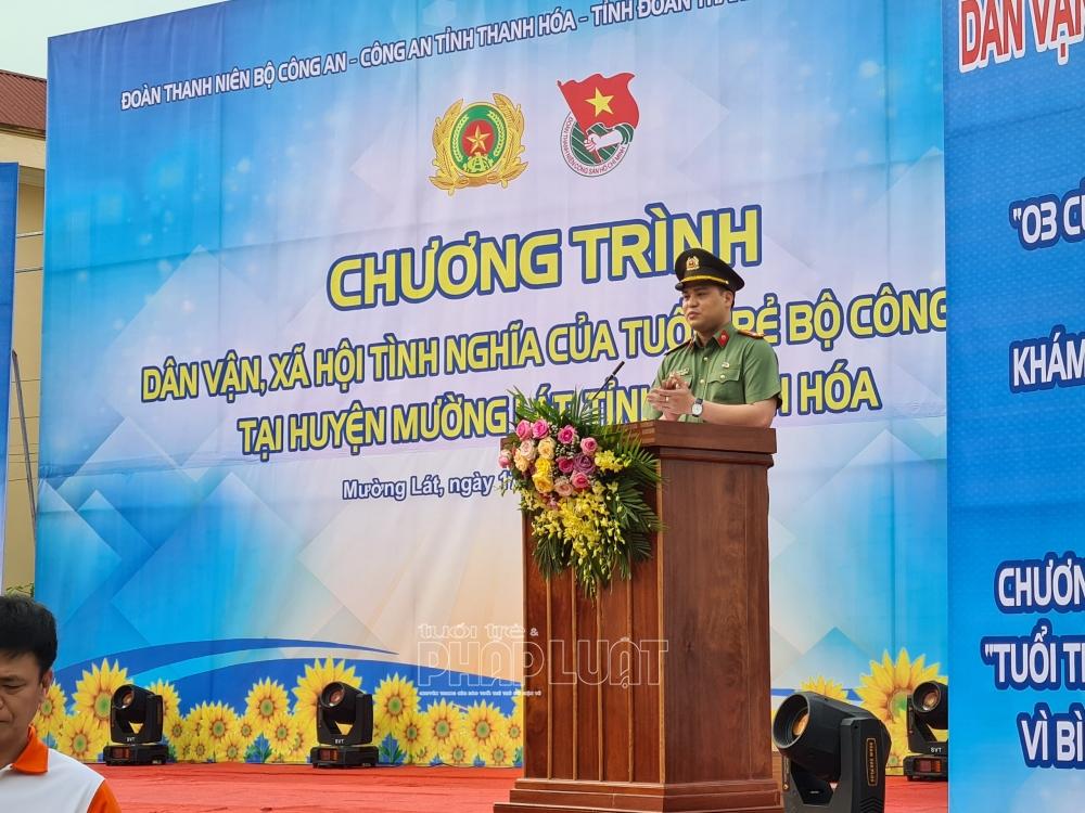 Trung tá Đồng Đức Vũ, Ủy viên TW đoàn, Bí thư Đoàn Thanh niên Bộ Công an phát biểu tại buổi lễ