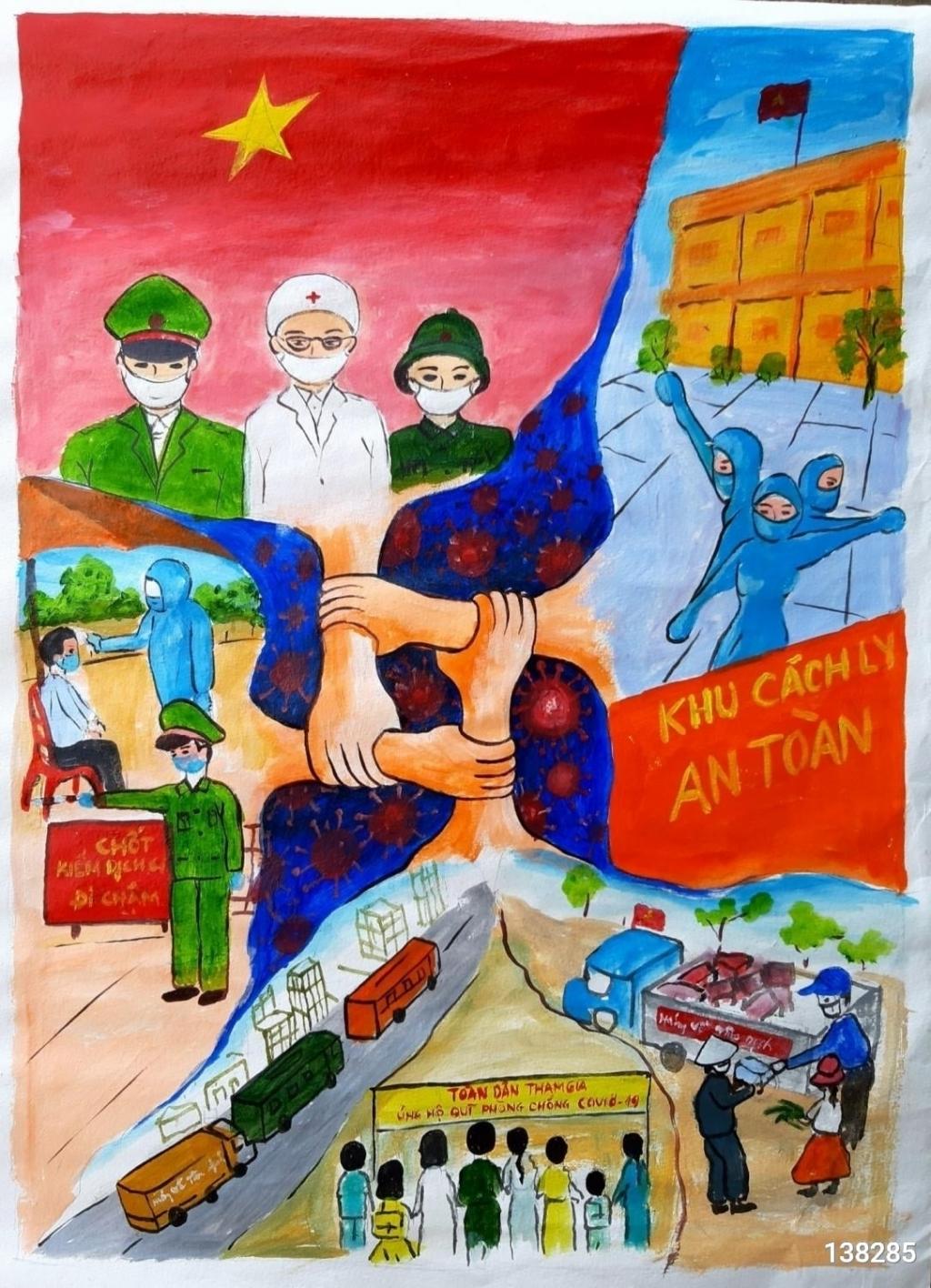 Tác phẩm: Việt Nam chiến thắng đại dịch, Hoàng Nguyễn Như Quỳnh, Lớp 5C, Trường TH số 1 Quảng Hưng, huyện Quảng Trạch, tỉnh Quảng Bình