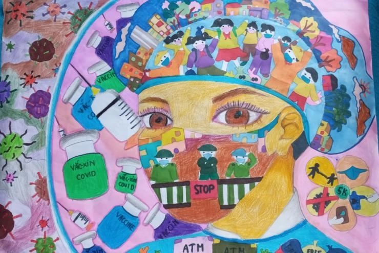 Tác phẩm: Nữ bác sĩ nơi tuyến đầu, Phạm Nguyễn Ngọc Minh, lớp 7B3, Trường THCS Liên Khê, huyện Thuỷ Nguyên, thành phố Hải Phòng