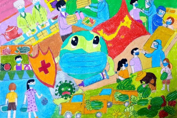 Tác phẩm: Vẻ đẹp cuộc sống thời Covid, Nguyễn Gia Huy, lớp 5A5, Trường TH Thành Công B, quận Ba Đình, thành phố Hà Nội