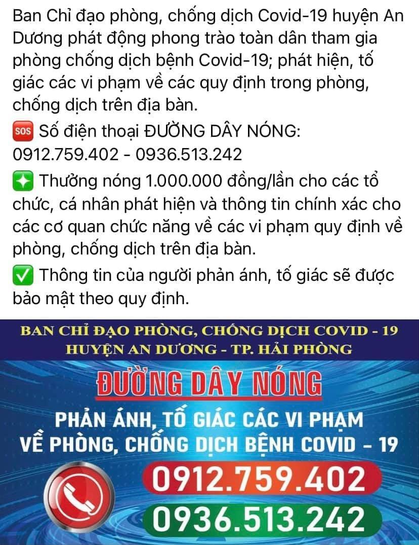 Ban Chỉ đạo phòng, chống dịch Covid-19 huyện An Dương công khai đường dây nóng tới người dân