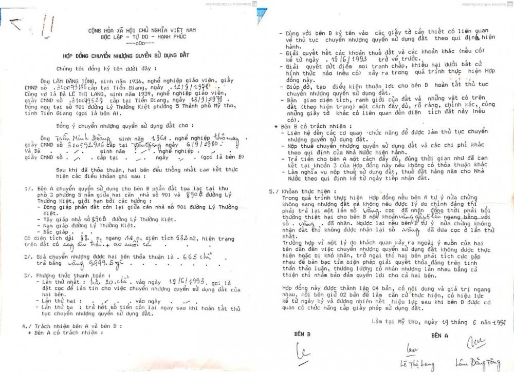 Hợp đồng mua bán tài sản nhà đất số 890A Lý Thường Kiệt do ông Nguyễn Minh Hoàng (con trai cụ Lý) thực hiện với chủ đất cũ năm 1993