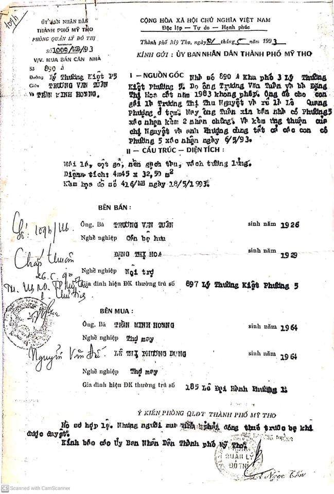 Văn bản đồng ý hồ sơ hợp lệ của Phòng Quản lý đô thị TP Mỹ Tho (Tiền Giang) năm 1993 với hợp đồng mua bán trên