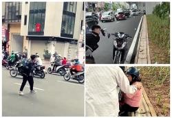 Triệu tập nhóm thanh niên đập phá xe máy sau va chạm giao thông