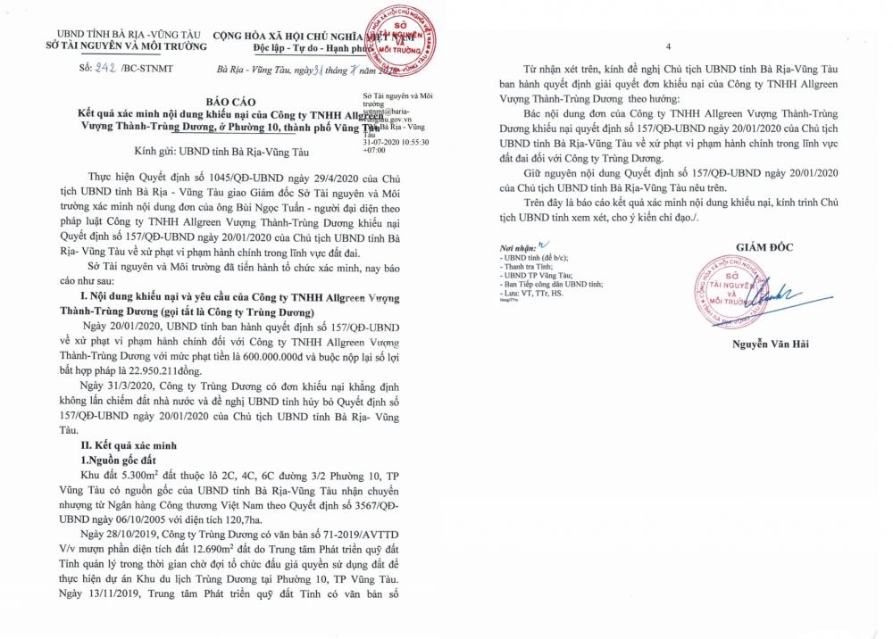 Báo cáo của Sở TNMT kiến nghị UBND xử lý hành vi sai phạm của UBND tỉnh BR-VT