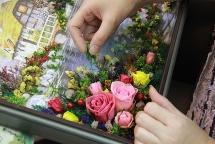 tranh 3d ghep tu hoa tuoi