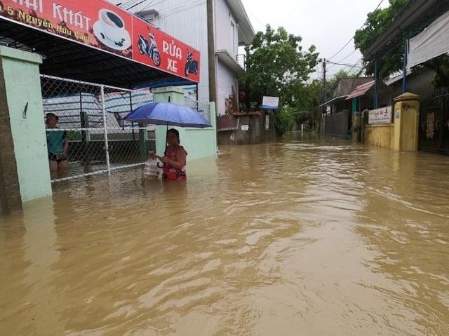 Mưa cực lớn, nước ngập ngang người, cây đổ la liệt