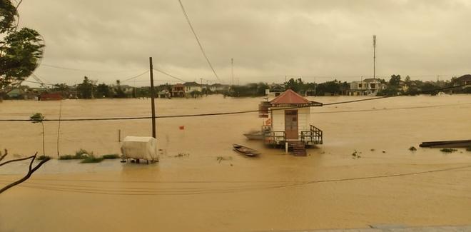 Lũ trên sông ở Quảng Trị bắt đầu lên cao từ sáng 17/10. Ảnh: Đài KTTV Trung Trung Bộ.