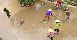 Nước lũ rút, người Quảng Bình trở về nhà dọn dẹp