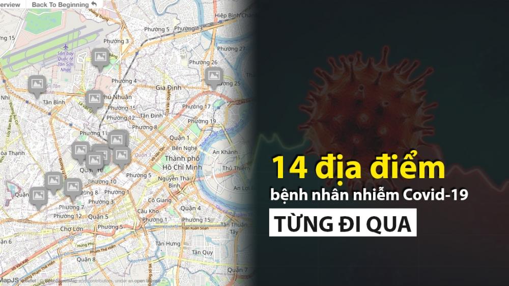 14 địa điểm bệnh nhân Covid-19 từng đi qua tại TP Hồ Chí Minh