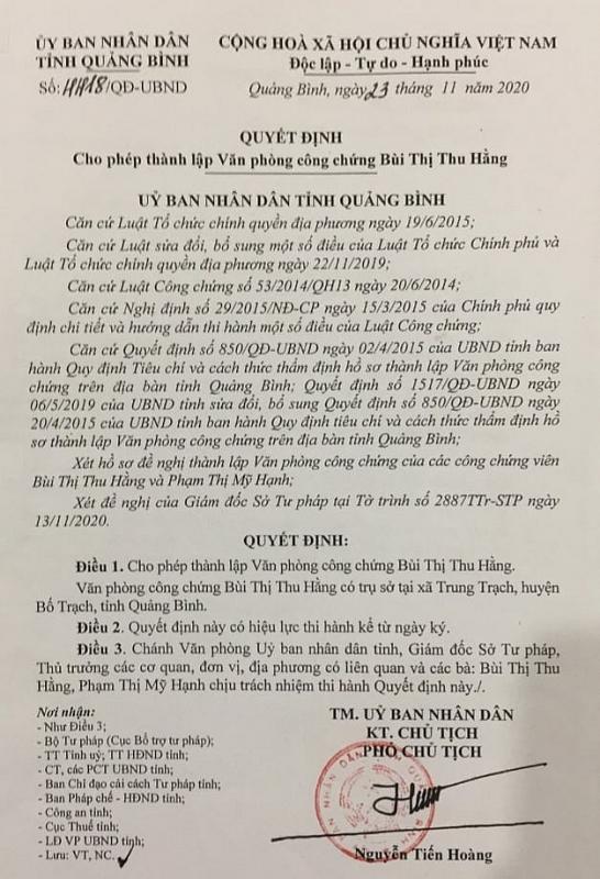 Quảng Bình: Nhiều bất cập từ quyết định thành lập văn phòng công chứng?