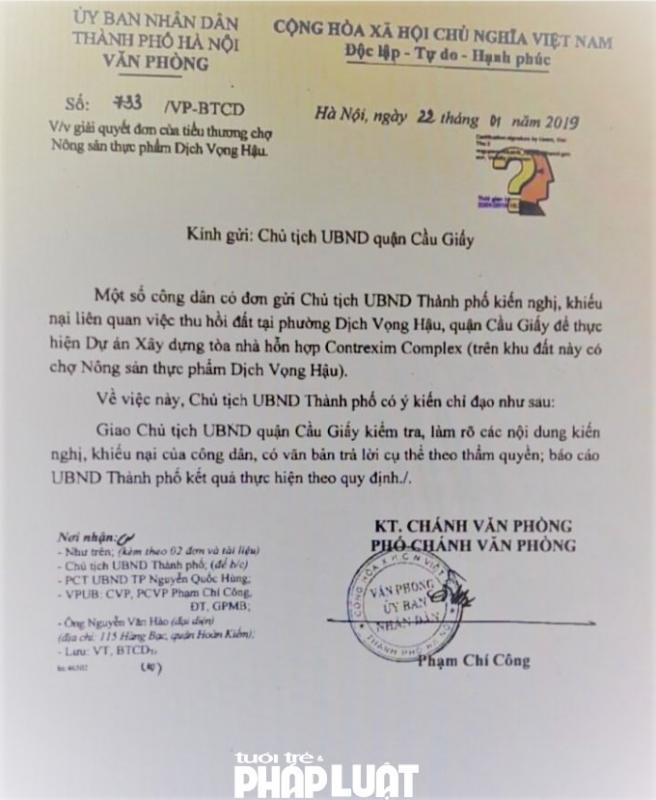 Văn bản của UBND TP Hà Nội chỉ đạo làm rõ nội dung khiếu nại về chợ Nông sản thực phẩm Dịch Vọng Hậu.