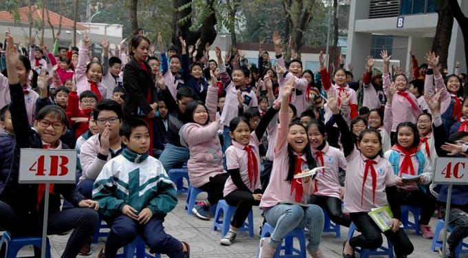 Học sinh trường tiểu học Trung Tự, Hà Nội hào hứng tham gia lễ phát động cuộc thi
