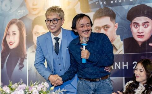Diễn viên Minh Tít và diễn viên Giang Còi trong buổi ra mắt phim