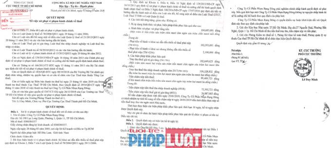 Quyết định xử phạt Công ty Nhựa Rạng Đông của Cục thuế TP HCM