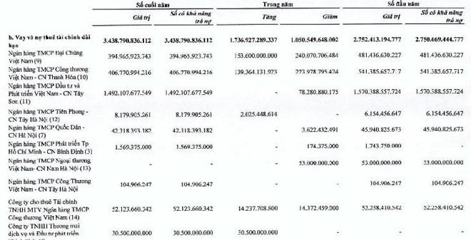 Tình hình vay nợ ngân hàng của FLC tính đến hết 2018
