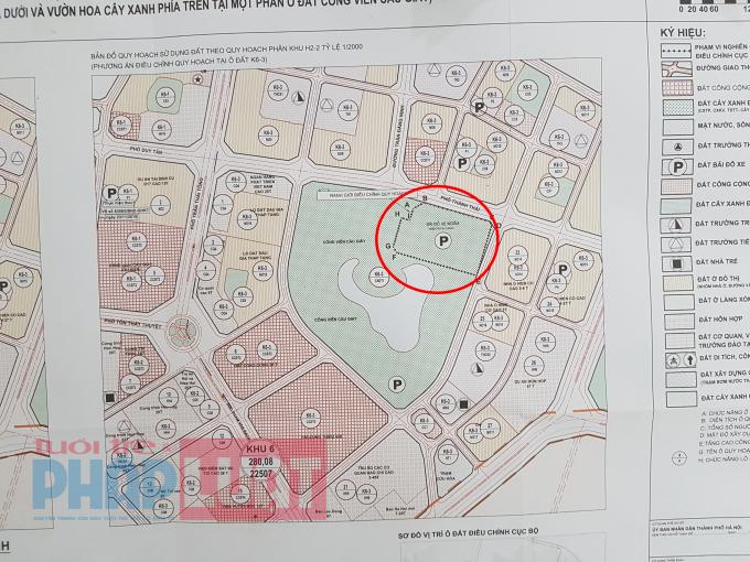 Vị trí đề xuất xây dựng bãi đỗ xe tại công viên Cầu Giấy.