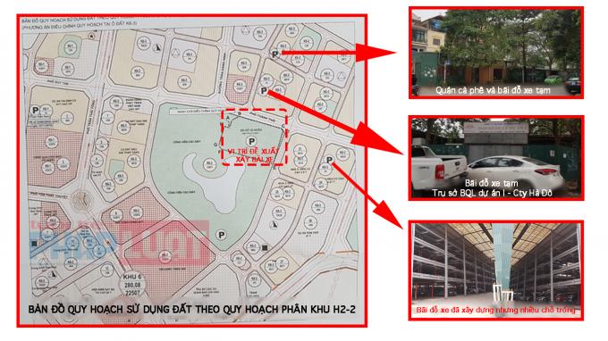 Vị trí được đề xuất làm dự án và các lô đất được quy hoạch làm bãi đỗ xe sát công viên Cầu Giấy.