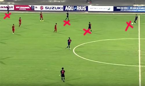 Trong tình huống sau pha bóng trên chừng một phút, Thái Lan tấn công bên cánh phải. Ba cầu thủ áo xanh gặp khó khi có tới bốn cầu thủ Indonesia tham gia phòng ngự. Lập tức trung vệ lệch phải của Thái Lan dâng lên, cân bằng quân số và tham gia luân chuyển bóng.