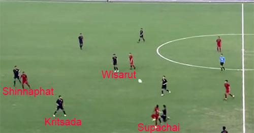 Xuất phát từ pha phát bóng của thủ môn, Supachai bật nhảy, tranh bóng với Osvaldo, nhưng bất thành. Thay vì tiếp tục đuổi theo đoạt lại bóng, số 9 của Thái Lan lại lững thững đi bộ, và khiến Thái Lan chịu một tình huống nguy hiểm.