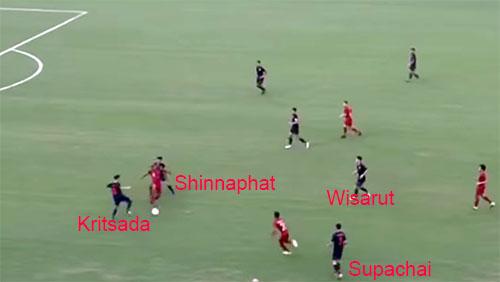 Supachai gần như dừng hẳn lại để Osvaldo đưa bóng cho tiền đạo Manewar. Trung vệ lệch phải của Thái Lan, Kritsada tỏ ra bối rối giữa việc lao lên cắt bóng, hay lùi lại chặn đường chuyền. Kết quả là Indonesia đưa bóng dọc biên trái, giúp Osvaldo xâm nhập cấm địa.