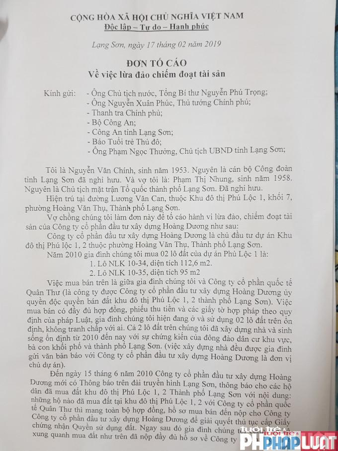Chủ đầu tư dự án KĐT Phú Lộc I và II là Công ty Hoàng Dương bị người dân tố cáo lừa đảo, chiếm đoạt tài sản