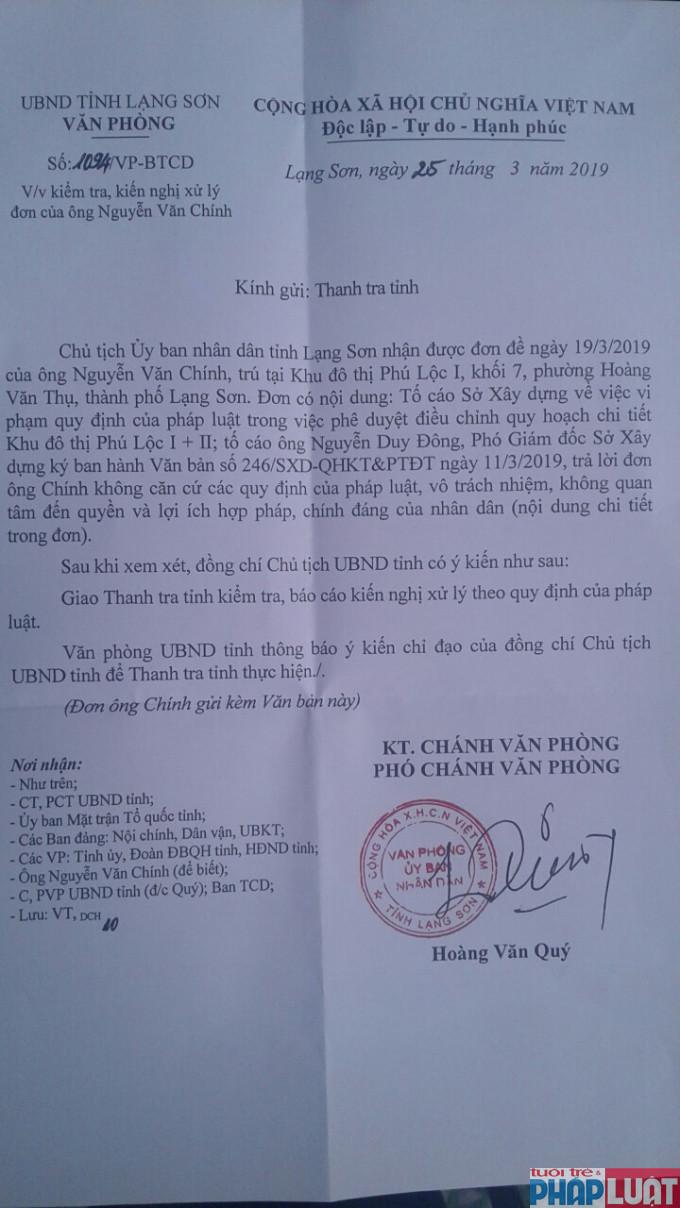 Chủ tịch tỉnh Lạng Sơn giao Thanh tra tỉnh vào cuộc làm rõ những nội dung tố cáo của người dân tại dự án KĐT Phú Lộc I và II