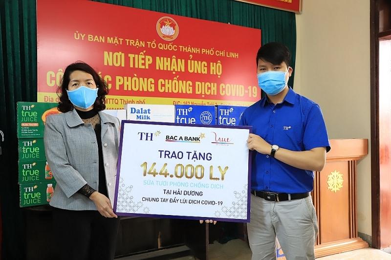 TH trao tặng hơn 200.000 ly sữa cho tuyến đầu chống dịch ở Hải Dương, Quảng Ninh