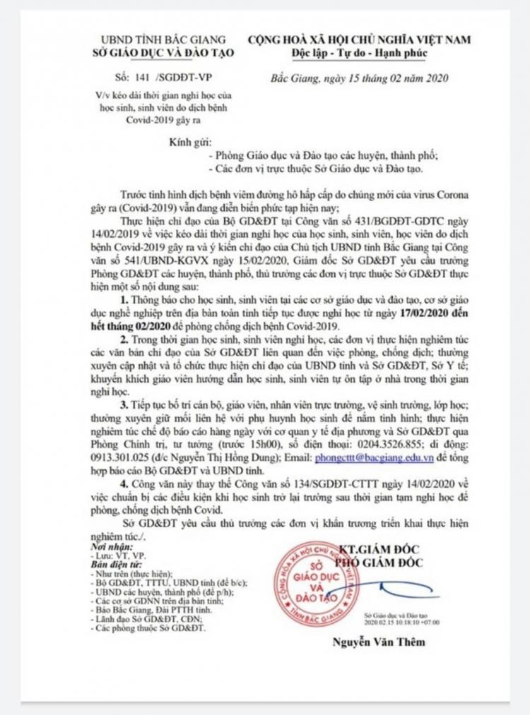 bac giang quyet dinh cho hoc sinh sinh vien nghi hoc het thang 22020