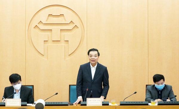 Chủ tịch UBND TP Hà Nội Chu Ngọc Anh phát biểu tại cuộc làm việc