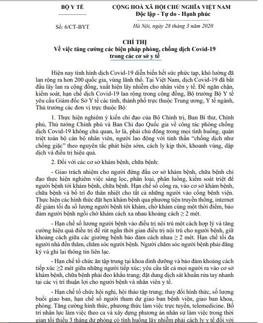 tang cuong phong chong lay nhiem covid 19 trong cac co so y te