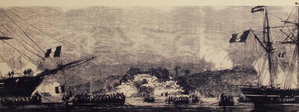 Hình ảnh mô phỏng liên quân Pháp - Tây Ban Nha đổ bộ vào thành Điện Hải (Ảnh tư liệu)