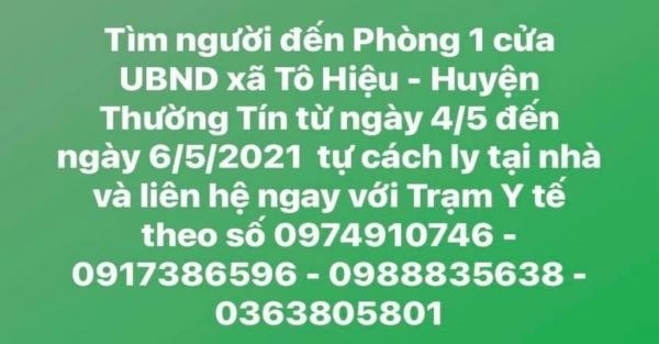 """Hà Nội tìm khẩn người đến phòng """"Một cửa"""" UBND xã Tô Hiệu (huyện Thường Tín) từ ngày 4 đến 6/5"""