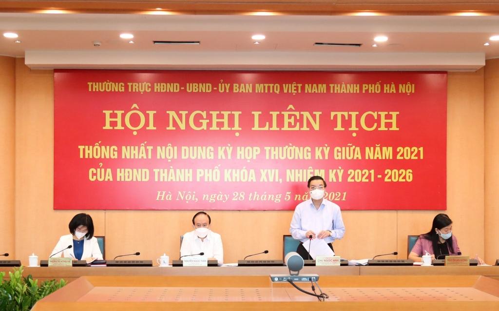Chủ tịch UBND TP Chu Ngọc Anh phát biểu tại hội nghị