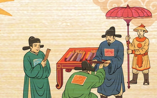 Tranh vẽ tái hiện Lễ ban quạt trong cung đình xưa