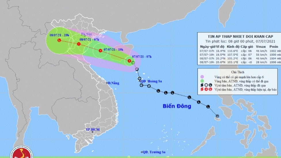 12-24h tới, áp thấp nhiệt đới gây mưa cực lớn ở Bắc Bộ, Bắc Trung Bộ