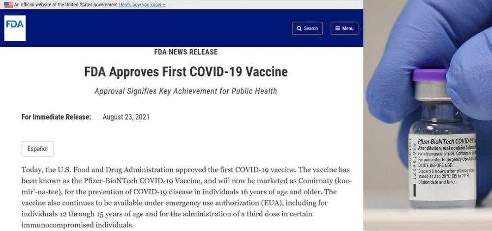 Vaccine Covid-19 đầu tiên được phê chuẩn đầy đủ