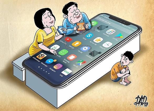 """Con trẻ đủ đầy mà """"cô đơn"""" chỉ vì chiếc điện thoại"""
